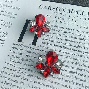 Red Rhinestone Crystal Like Stud Earrings